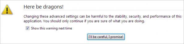Firefox Careful Warning e1343842059291 چگونه کلید Backspace را در فایرفاکس غیر فعال کنیم؟