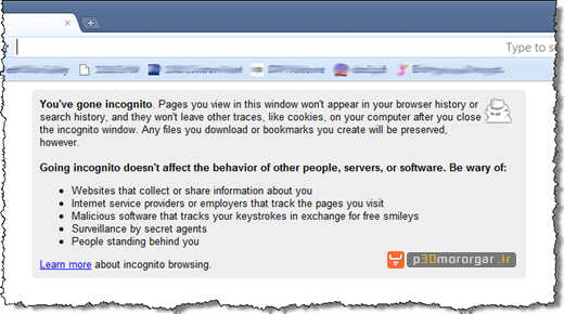 03 chrome incognito window open thumb نحوه فعال نمودن حالت مرور خصوصی صفحات در 4 مرورگر وب معروف